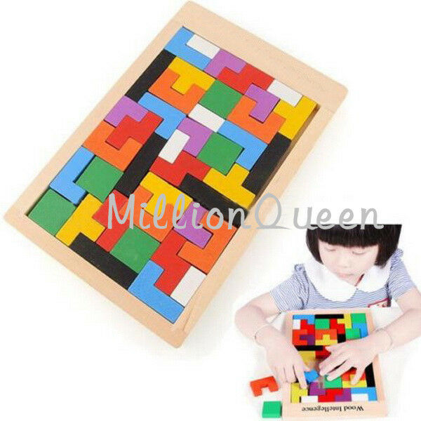 Children Play Wood Toy Colorful Wooden Tangram Brain Teaser Puzzle Tetris Game