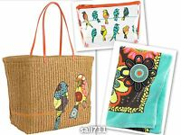 Vera Bradley Flower Shower Large Straw Tote Bag Clear Cosmetic Beach Towel