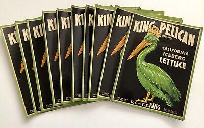 *lot Of 100* King Pelican Bird Sacramento Ca Lettuce Crate Labels *original* Nos To Produce An Effect Toward Clear Vision Merchandise & Memorabilia Other Entertainment Mem