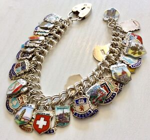 Stunning-Vintage-Very-Heavy-Solid-Silver-amp-Enamel-Travel-amp-Places-Charm-Bracelet