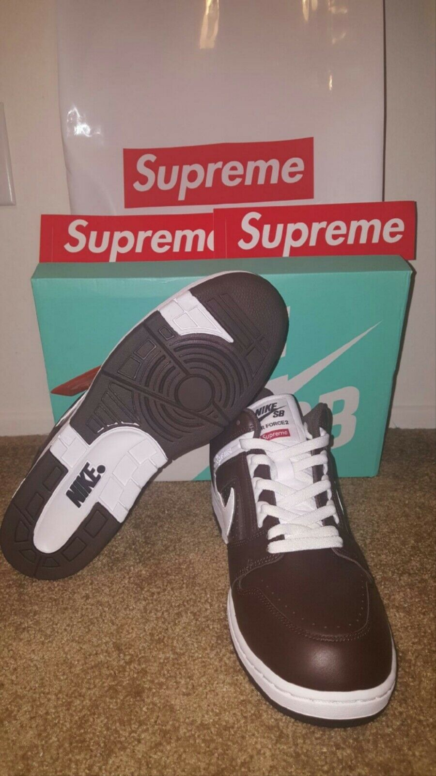 Nike SB X Supreme Air Force 2 Brown Size 11
