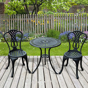 Outsunny 3pc Antique Garden Cast Aluminum Café Bistro Set Garden Furniture