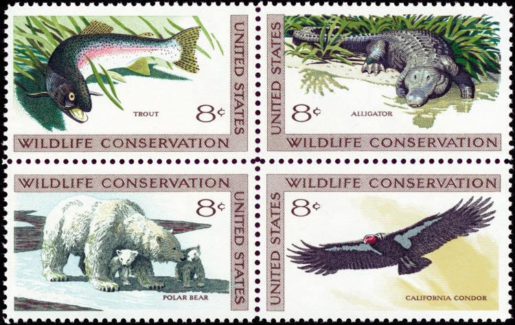 1971 8c Wildlife Conservation, Alligator, Block of 4 Sc