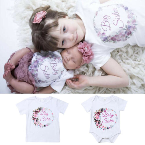 Kid Girl Matching Clothes Big Sister Shirt Tops Baby Little Sister Romper Outfit