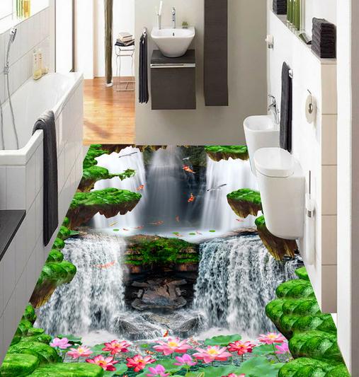 3D Forest Waterfall Lotus 75 Floor WallPaper Murals Wall Print Decal 5D AU Lemon