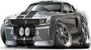 1967 Ford Mustang Gt Fastback 427 Cartoon Car Wall Graphic Garage
