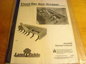 Details about Landpride BB15 BB25 Box Scraper Operator's Manual
