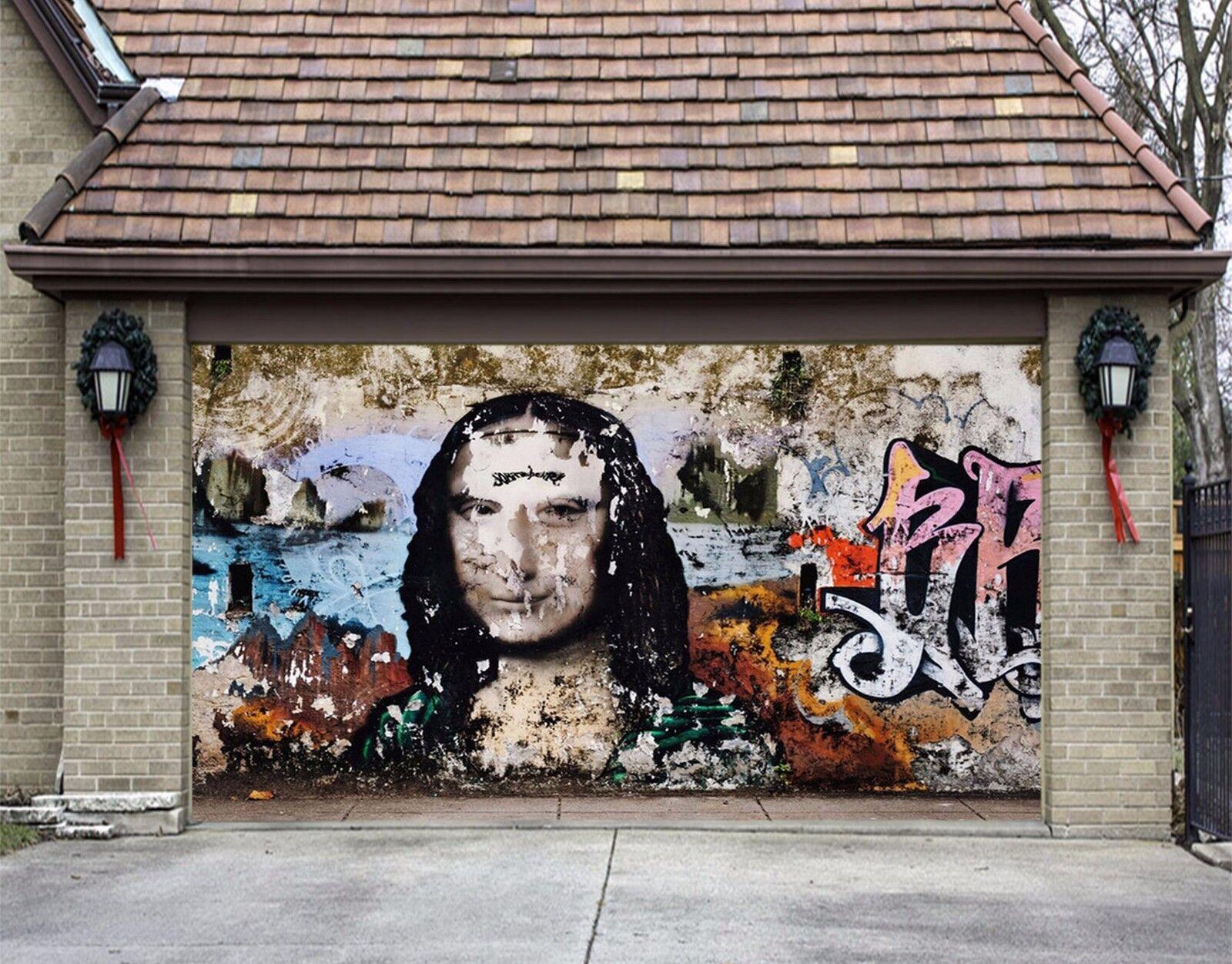 3D Mona Lisa 843 Garage Door Murals Wall Print Decal Wall AJ WALLPAPER UK Carly