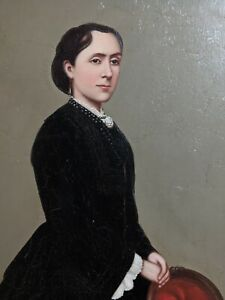 Profile-of-Victorian-Woman-with-Red-Chair-Oil-on-canvas-Unsigned-Framed