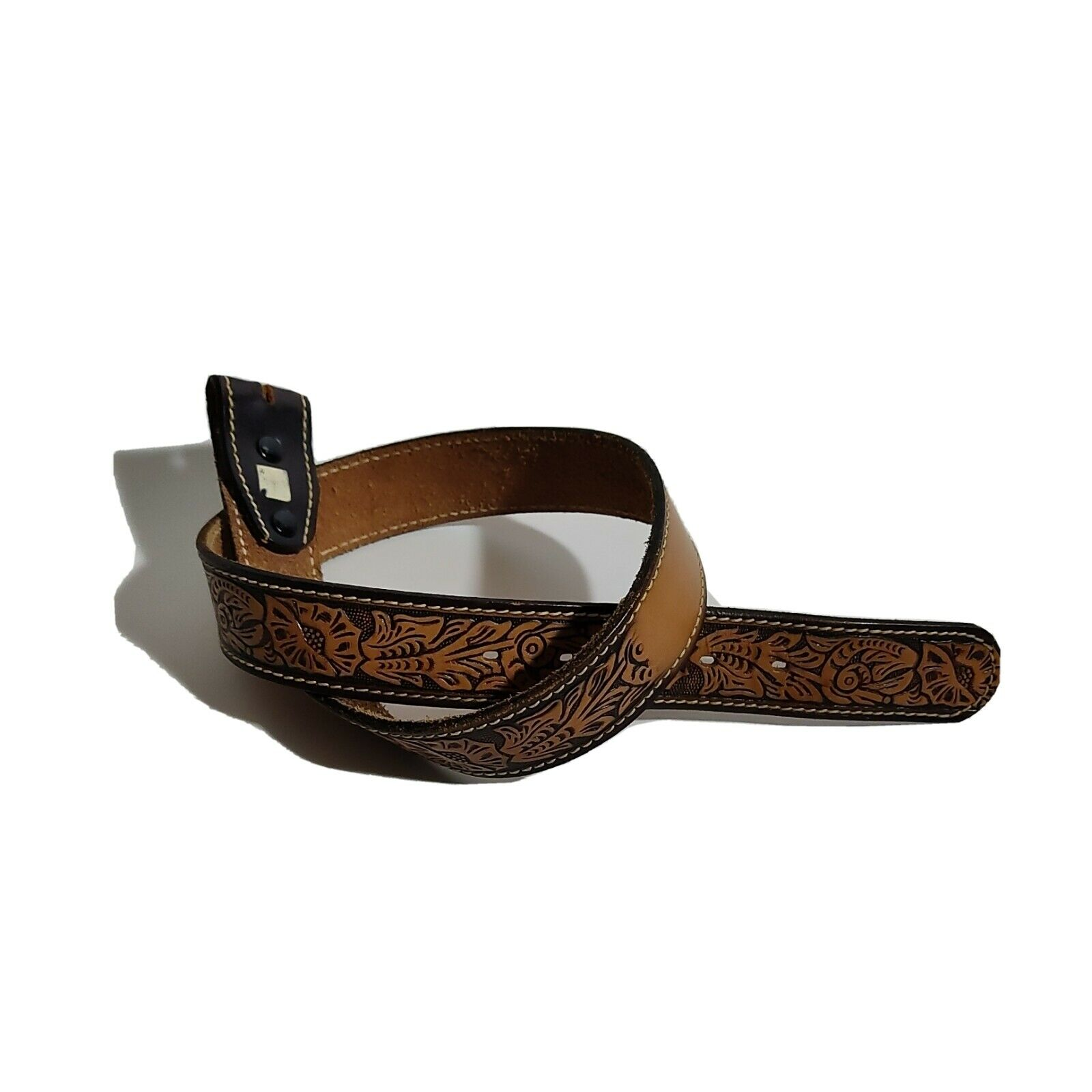30 Inch Leather Belt Hand Tooled Finish Brown/Tan No Buckle Floral Design NWOT
