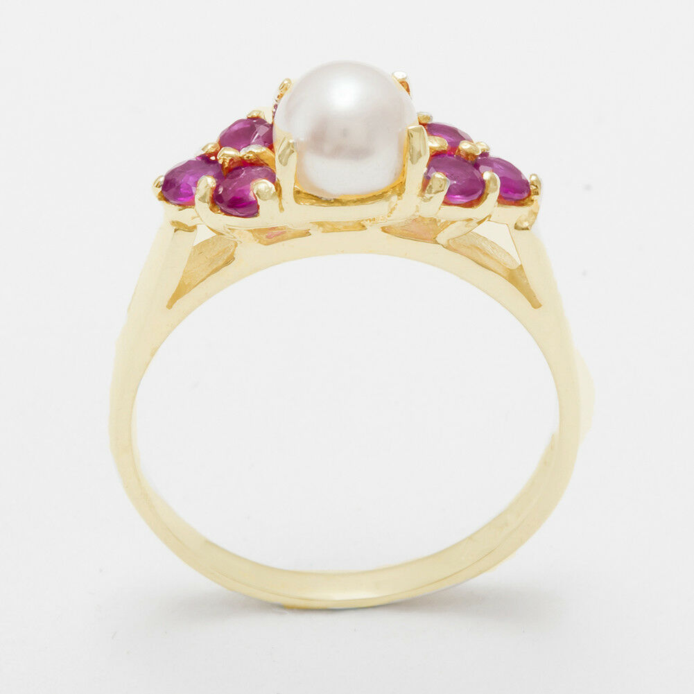 Solid 14ct Yellow gold Full Pearl & Ruby Womens Cluster Ring - Sizes J to Z