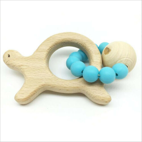 DIY 1pcs Natural Wood Teether Turtle shape Silicone Beaded Baby Molar Stick Toy