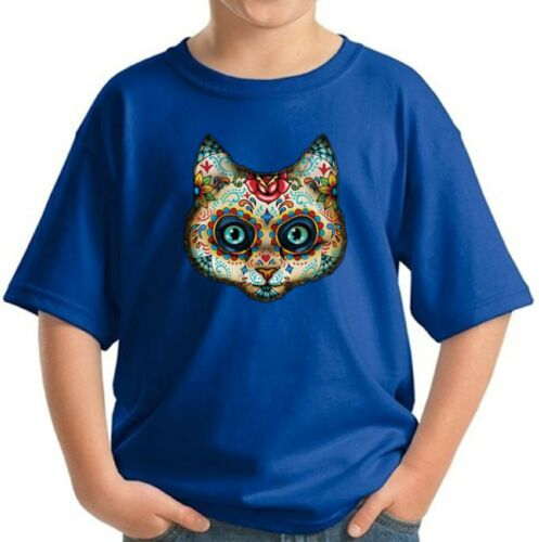 Day of the Dead Cat Kids T shirts Shirts Cat Mask Youth Sugar Skull