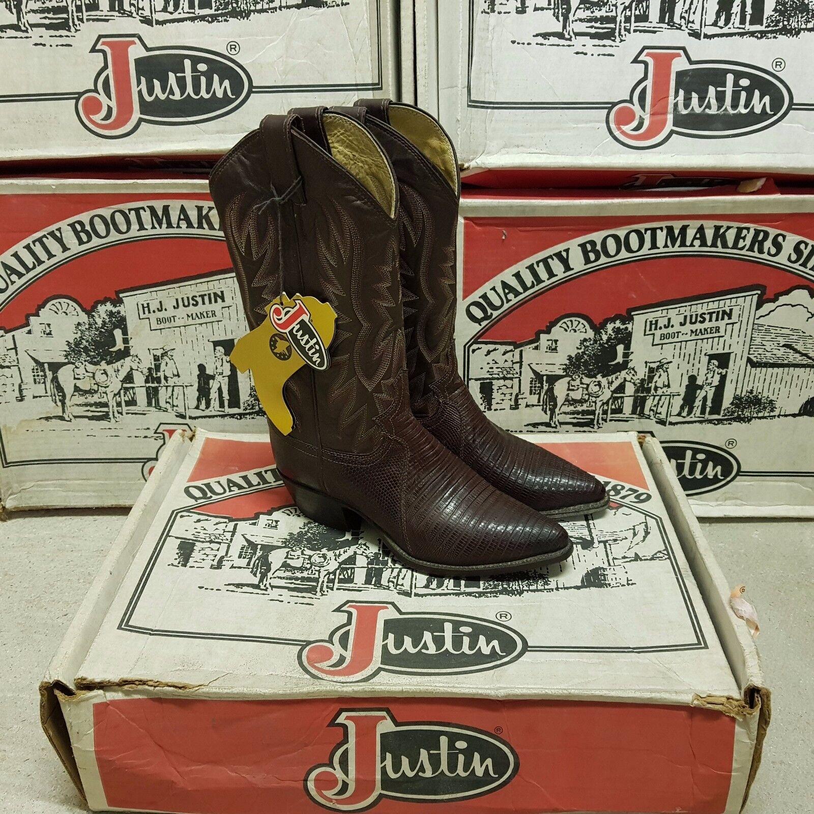 JUSTIN Cocoa 1988 Vintage women's boots Iguana Lizard Cocoa JUSTIN Kiddie US 5,5 29c6e1