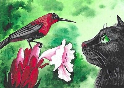 5x7 PRINT OF PAINTING RYTA CHRISTMAS BLACK CAT CARDINAL CHICKADEE NORTH BIRDS