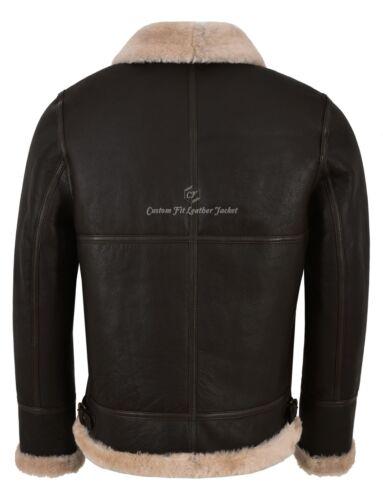 Men/'s B3 Brown Beige Fur Shearling Sheepskin Leather Jacket Bomber RAF NV-65