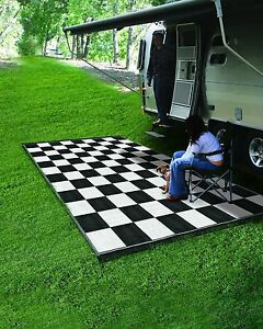 Reversible Outdoor Mat Rv Trailer Camping Patio Black White