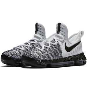 finest selection fda30 6c5ce Image is loading Nike-Zoom-KD-9-GS-OREO-White-Black-