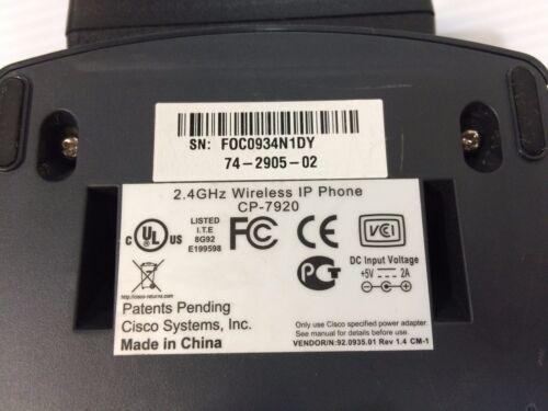 CISCO 74-2905-02 74-2901-01 CP-7920 SERIES WIRELESS IP PHONE CRADLE 74-3311-01
