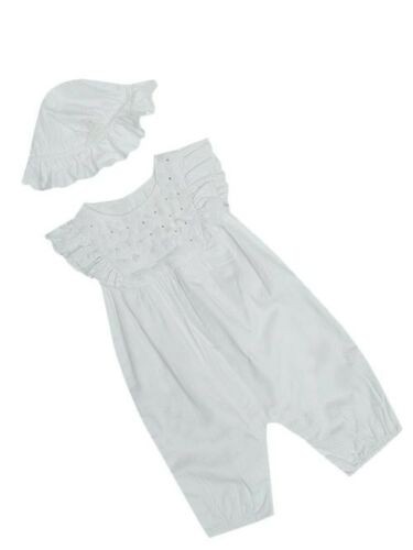 """BABY GIRLS /""""EX M/&S/"""" AUTOGRAPH FLORAL ROMPER WITH MATCHING HAT 2 PIECE SET"""