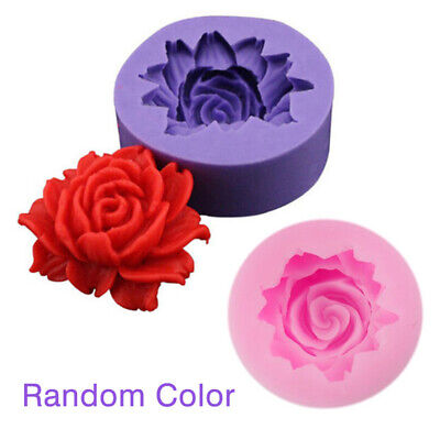 Candle Heart Craft Mold Fondant DIY Mould Rose  3D Silicone Sugar Cake Soap