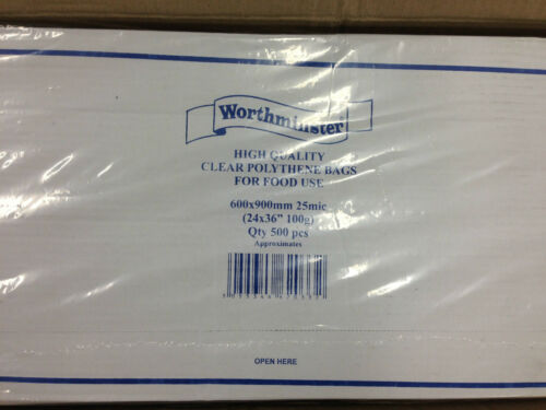 1000 FOOD BAGS 600 x 900mm FREE 24H 2000 OR 5000 CLEAR POLYTHENE 500