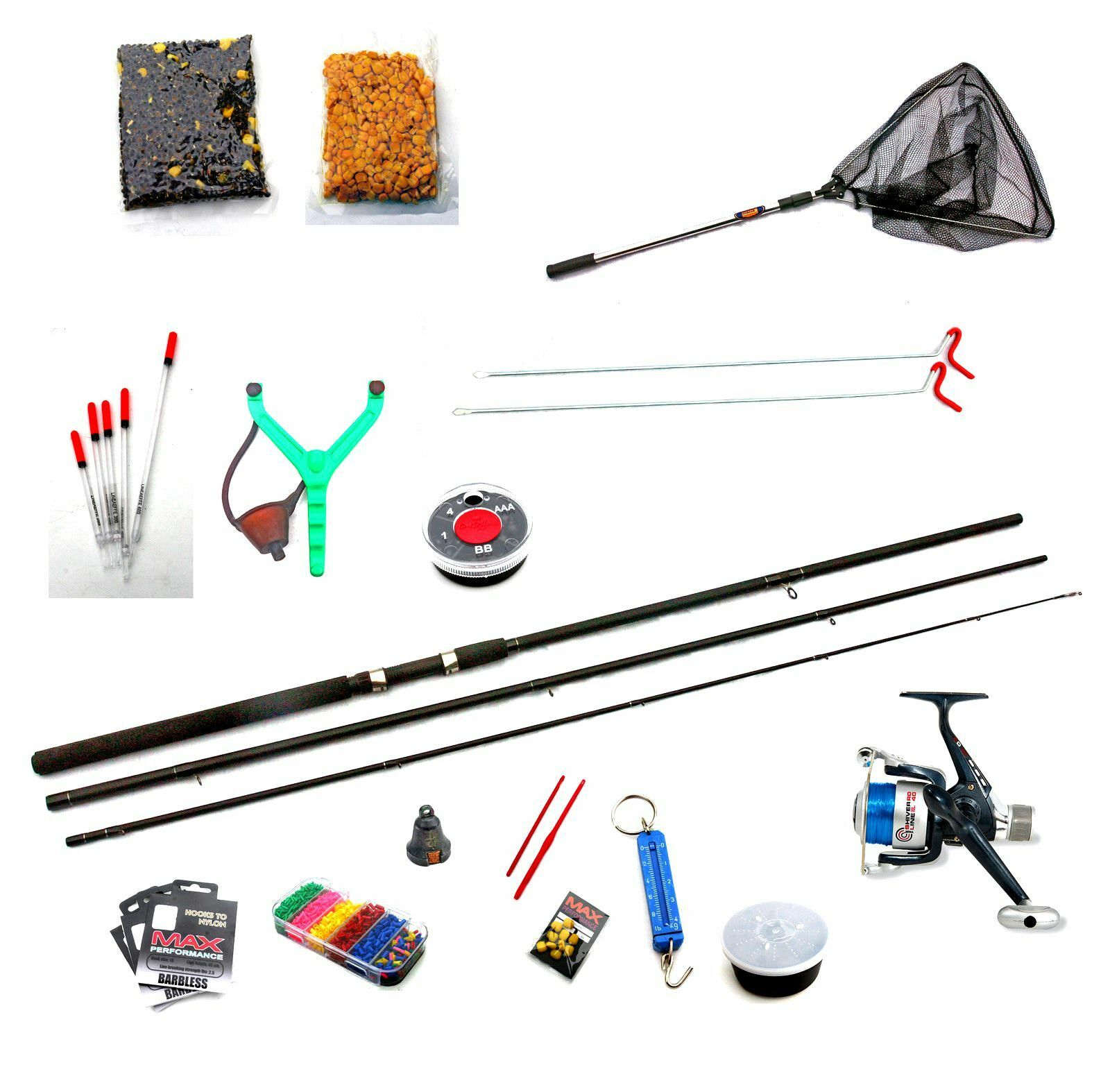 8 ft  Float Fishing Starter Kit Rod,Reel,Line,Rod Rest,Hooks,shot,Bait Net