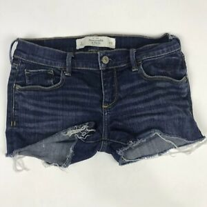 Abercrombie-and-Fitch-Medium-Wash-Denim-Blue-Jean-Cutoff-Shorts-Womens-Sz-2-26