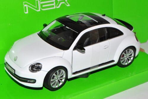 VW Volkswagen New Beetle Coupé a partir de 2011 Weiss 1//24 Welly modelo coche con o o..