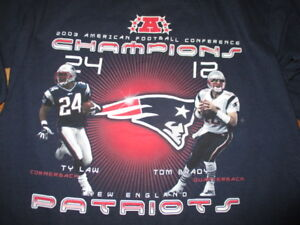 size 40 9a751 8663e Details about TY LAW and TOM BRADY AFC Champions NEW ENGLAND PATRIOTS (MED)  Long Sleeve Shirt