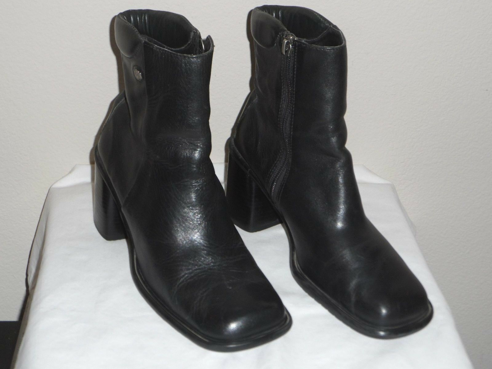 Harley-Davidson Womens Black Leather Size Ankle Boot Shoe - Size Leather 7M 9f1b46