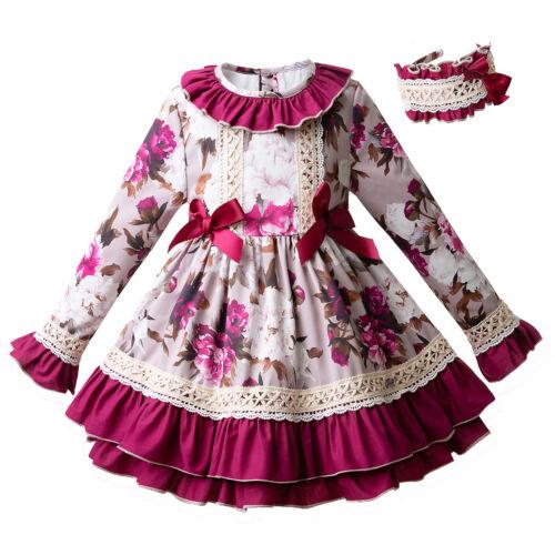 Spanish Christmas Dress Girls Romany Dresses Kids Occasion Dress Pink Age 3-4 Y