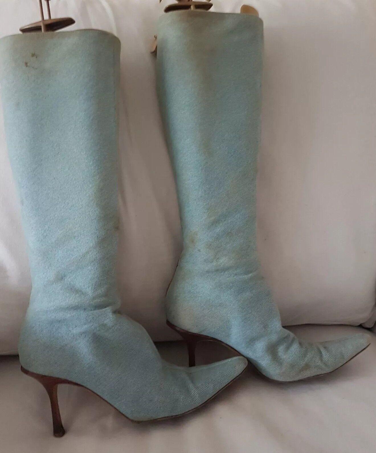 Vintage Jimmy Choo Designer denim boots size uk 5