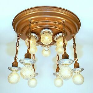 HUGE-Antique-Art-Deco-12-Light-Flush-THEATER-Chandelier-Ceiling-Fixture-RESTORED