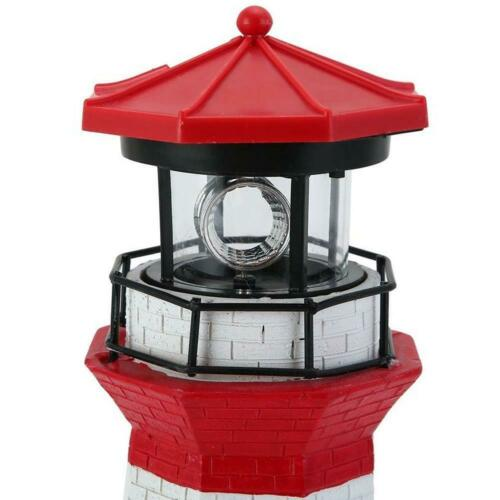 Led Solar Powered Red Leuchtturm Statue Rotating Garten Garten Terrasse