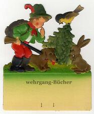 Kleiner Jäger, Kalenderaufhänger um 1940, geprägte/ Dresdner Pappe