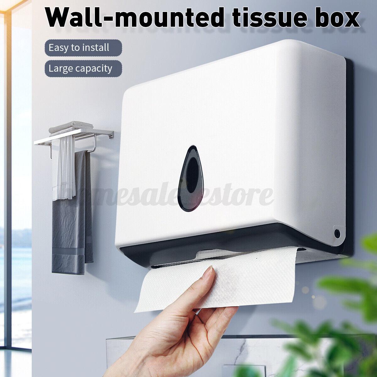Bathroom Wall Mounted Paper Towel Tissue Box Dispenser Home Toilet C Fold