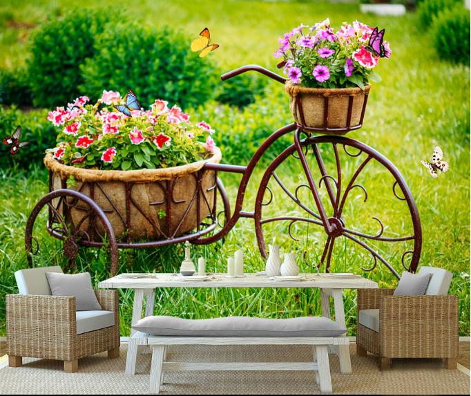 3D Gras Fahrrad Blaumen 892 Tapete Wandgemälde Tapeten Bild Familie DE Summer  | Verkauf  | Deutschland Store  | Elegantes Aussehen