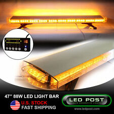 "47"" Amber 88W Emergency LED Strobe Roof Truck Security Light Bar Slim Digital"