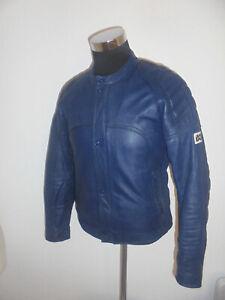 blaue-vintage-IXS-Motorradjacke-Lederjacke-bikerjacke-oldschool-jacket-50-M