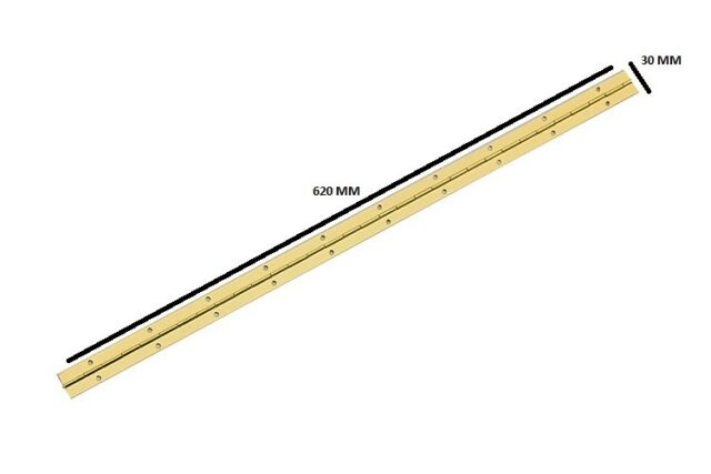 Continuous Piano Hinge Brasss Plated 24 Inch Length 1 Inch Open ( 2 Hinge )