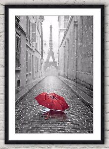Black And White Photo Paris Eiffel Tower With Red Umbrella Framed