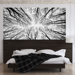 Details about 3D Black and White Trees Forest Bed Head Stickers Wallpaper  Bedroom Decoration