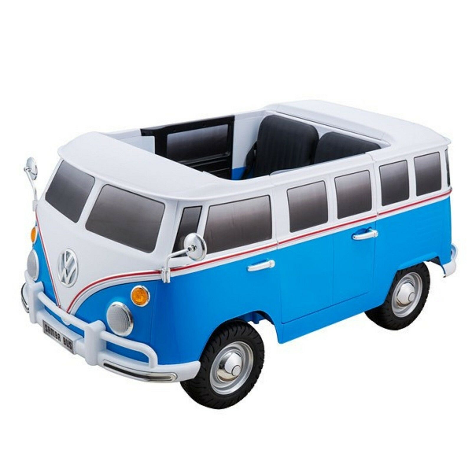 Elektro Auto Kinderfahrzeug VM Bulli mit Leder MP3 2 Sitzer VW Bus Blau