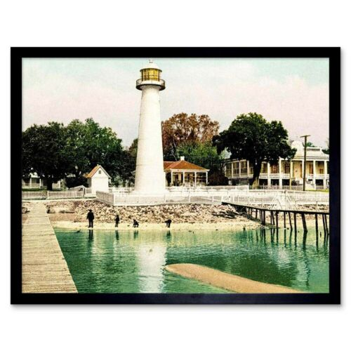 Vintage Photography Added Colour Biloxi Lighthouse Mississippi Usa Framed Print