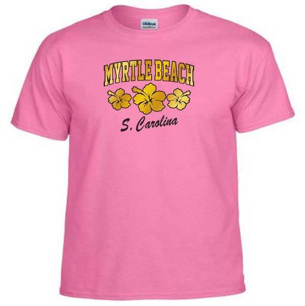 MYRTLE BEACH SOUTH CAROLINA FLIP FLOP SEASHELL SHINY SATIN FOIL FABRIC T-Shirt