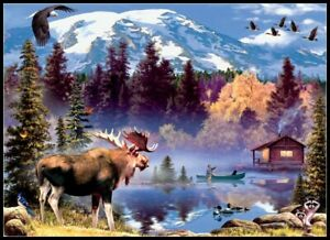 Moose-Cabin-Chart-Counted-Cross-Stitch-Pattern-Needlework-Xstitch-craft-DIY