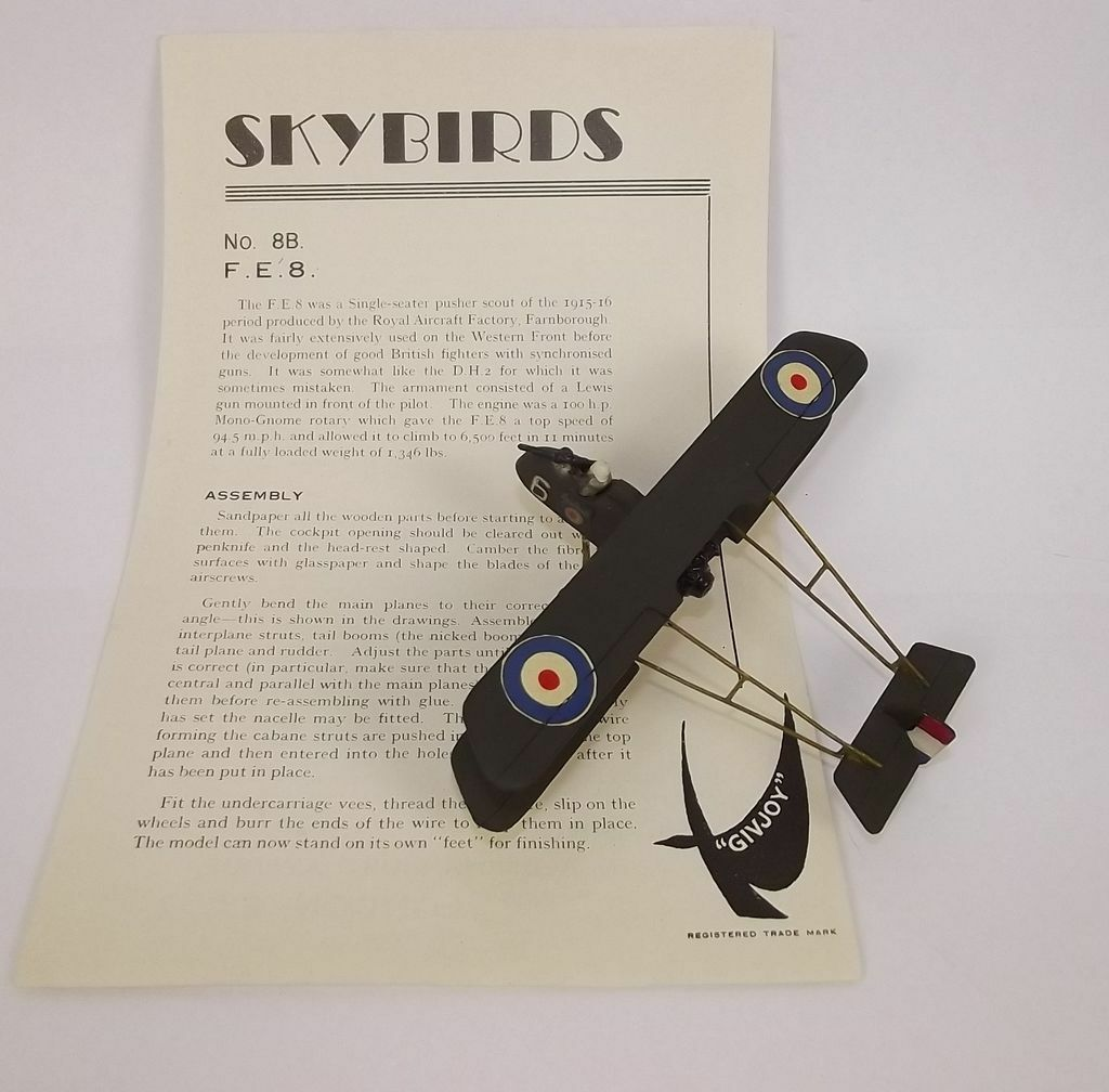 Givejoy Toys Skybirds 1 72nd Scale Aircraft F.E. 8 Fighter No.8B Made 1935-42
