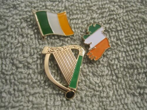 "/""Saint Patricks Day/"" Irish Harp /& Ireland Map /& Flag 3Pc Pin Set AOH St Patricks"