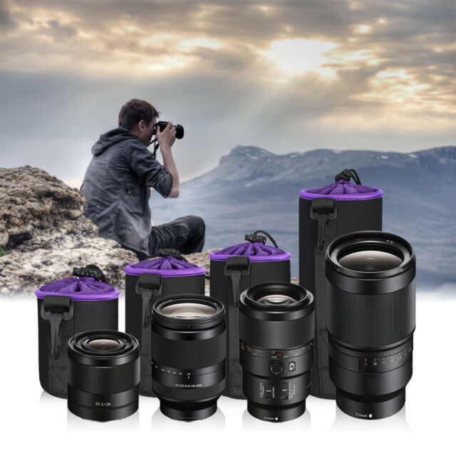 4 Pack K/&F Concept DSLR Lens Pouch Set Thick Protective Neoprene Compatible with Digital Photo Camera Lens Canon, Nikon, Olympus, Panasonic